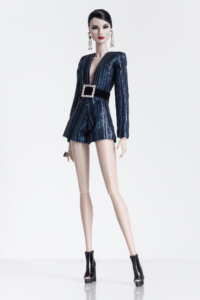 """REVERED $60.00 Long sleeve V neckline playsuit Material: Poly lurex chiffon Colour: Dark blue with teal and silver Back closure with hooks and thread loops Fully lined  Model: Giselle in Nuface, Agnes in Fashion Royalty body Fits 12"""" Fashion Royalty and Nuface dolls  Note: Belt with studded buckle is optional for add-on."""