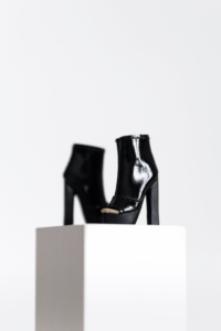 LAUREN $22.00 One pair Peep toe ankle boots Black platform chunk heels Material: Faux leather Colour: Glossy black with gold lining  Fits Fashion Royalty/Nuface/Lovetones feet