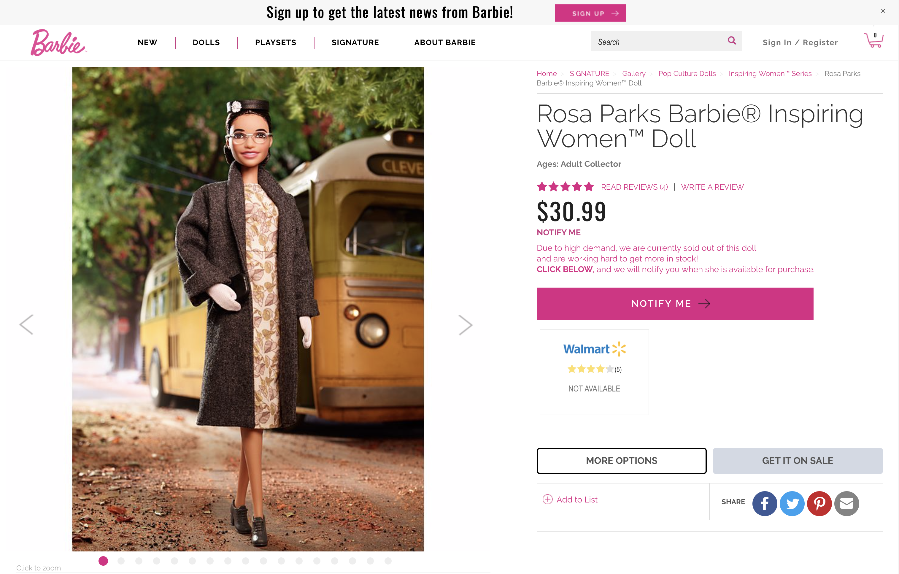 "PRODUCT FEATURES Barbie® recognizes all female role models. The Inspiring Women™ Series pays tribute to incredible heroines of their time; courageous women who took risks, changed rules and paved the way for generations of girls to dream bigger than ever before. Rosa Louise Parks worked as a seamstress and dedicated activist leading up to December 1, 1955. When she refused an order to give up her seat to a white passenger and move to the back of the bus, Mrs. Parks' act of defiance became the catalyst for the Montgomery Bus Boycott. Rosa Parks' quiet strength played a notable role in the civil rights movement, but it would still take another nine years and more struggles before the 1964 Civil Rights Act overruled existing segregations laws. Hailed as ""the Mother of the Modern Civil Rights Movement,"" Rosa Parks earned worldwide recognition and numerous awards including the prestigious Presidential Medal of Freedom and Congressional Gold Medal of Honor. Celebrate Rosa Parks and her impact on the civil rights movement with this Inspiring Women™ Series Rosa Parks Barbie® doll. Includes doll stand, Certificate of Authenticity and doll wearing fashion and accessories. Colors and decorations may vary.  Learn more here –> Label: Black Label® Designer: Kelley Lindberg Release Date: 8/26/2019 Included with doll: Hat, glasses,shoes,clutch, dress, coat, gloves, doll stand Eyelashes: Painted Fashion: Coat, printed dress, hat Fashion Sewn On?: No Body Type: Posable torso w/ articulate knee Doll Stand: Yes Facial sculpt: FNJ40/Alec Package Dimensions (H/D/W): 13"" x 3"" x 7"""
