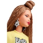 "Barbie® BMR1959™ Doll  The BMR1959™ collection celebrates the fashion heritage of Barbie® and showcases how current trends influence the brand. These bold, fully posable dolls capture the diverse looks found in today's streetwear culture. From high-low fashion mixes, re-imagined '90s gear to juxtaposed patterns, textures, and silhouettes, this curated ensemble is all about personal expression and style. This BMR1959™ doll wears a cropped, logo-print sweatshirt over a bike shorts romper with checkered detail. Hot-pink athletic shoes and a blue waist bag add bright pops of color. Glam earrings and a bold logo ring finish the look. The doll's extra-long braids are styled in a partial top-bun accented with baby hairs. This collectible fashion doll is fully articulated, comes in a streetwear-inspired shoebox and includes a BMR1959™ logo doll stand for displaying. Colors and decorations may vary.  Label: Black Label® Designer: Carlyle Nuera Release Date: 10/29/2019 Included with doll: Earrings, sweatshirt, cycling suit, hip bag, logo ring, gem ring, sneakers, doll stand, COA Eyelashes: Painted Fashion: Cropped, logo-print sweatshirt, bike shorts romper, hot-pink athletic shoes, blue waist bag Fashion Sewn On?: No Body Type: Made to Move - Original Doll Stand: Yes Facial sculpt: Mbili Package Dimensions (H/D/W): 15"" x 7"" x 10"" Limit 2 per person  https://barbie.mattel.com/shop/en-us/ba/barbie-bmr-1959/barbie-bmr1959-doll-ght91"