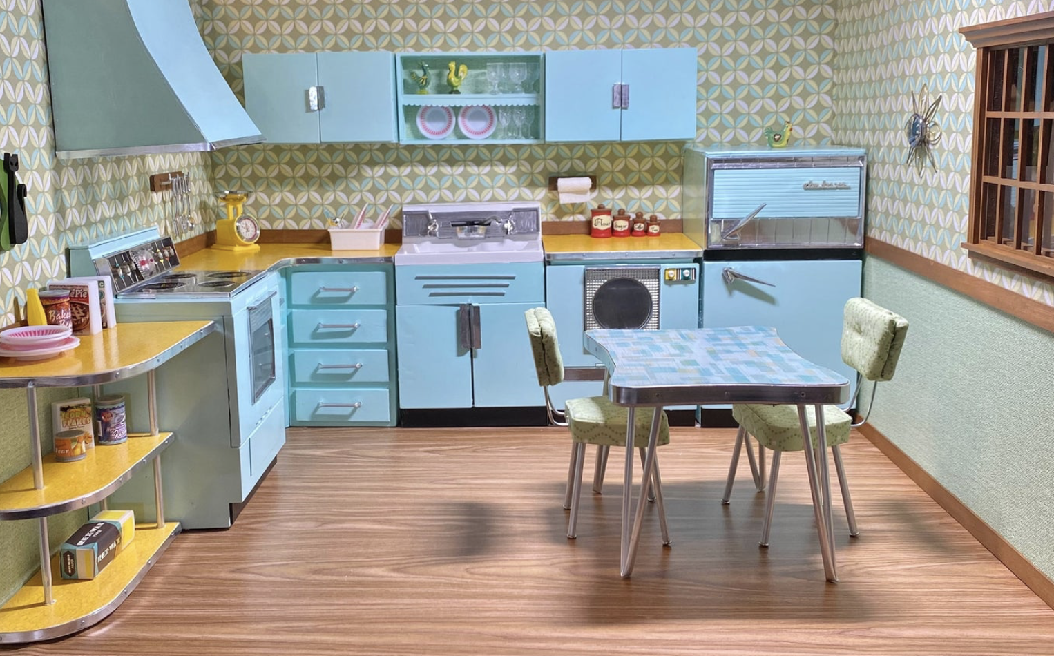 TheAtomicDoll Mid Century Furniture and Dioramas Barbie Size Covington, Georgia  Custom hand crafted room box with vintage style kitchen. Vintage mint green, aqua blues, golds and greens. The box measures 20 inches deep x 23 inches wide x 18 inches tall. The box is all wood, three sides, and a floor. Some of the cabinets and appliances are vintage and have been re-habbed. The stove, refrigerator, upper cabinets and under sink do all open, but the corner cabinets are faux. There are vintage style custom made Formica counter tops with real metal banding, as well as an atomic shelf with it. The table and chairs are custom made. Everything in the photos comes with this kitchen except for the dolls. All hand made ,custom, one of a kind. For the adult collector. Not intended as a toy